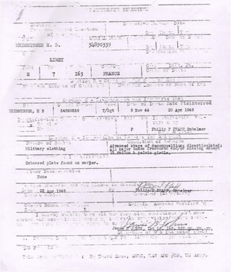 Lady Jeannette - Krimminger Burial Report