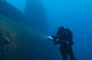 Diver near Wreck of HMS Perseus