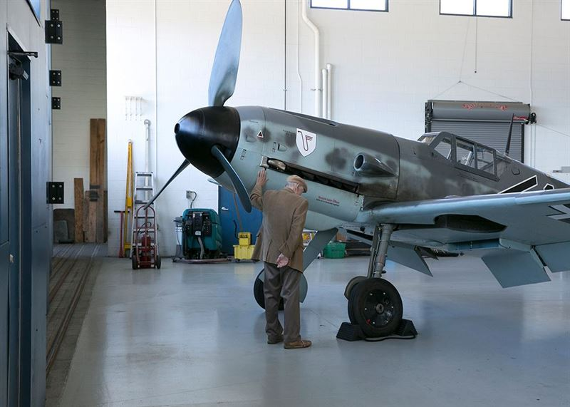 'Old Friends Reunited' - Hans Meyer with an old friend, the Bf 109. (Credits: Military Aviation Museum)