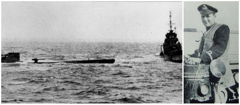U-110 and HMS Bulldog lowering her whaleboat (left) David Balme on HMS Bulldog (right)