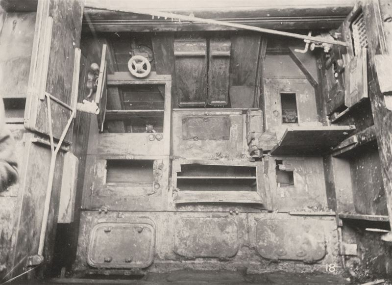 U-Boat 110 - Submarine's 3rd Compartment holding the Mess table, Lockers and manholes to accumulation battery.