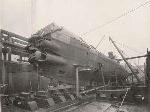 U-110 Submarine's Four bow Torpedo Tubes & hydroplane on the port side.