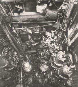 U-Boat 110, the Torpedo Room showing an overhead arrangement