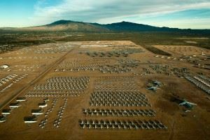 """A northern aerial view of the """"Boneyard"""" of the 309th Aerospace Maintenance and Regeneration Group at Davis-Monthan Air Force Base, Ariz (Credits: U.S. Air Force photo/Tech. Sgt. Bennie J. Davis III)"""