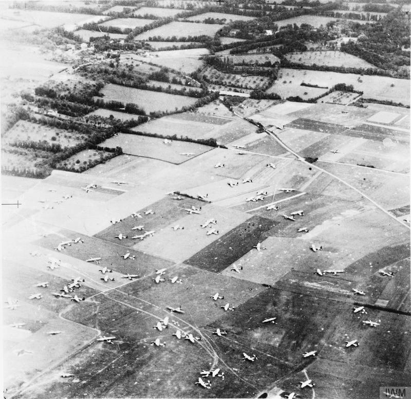 Aerial photo of part of 6th Airborne Division's Drop Zone 'N' between Ranville and Amfreville, east of the Orne River