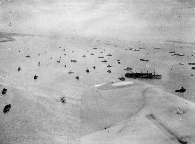 Aerial photo of ships of the Royal Navy massing off the Isle of Wight before setting off for the Normandy beaches.