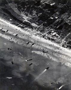 Aerial photograph of Utah Beach on 6 June 1944
