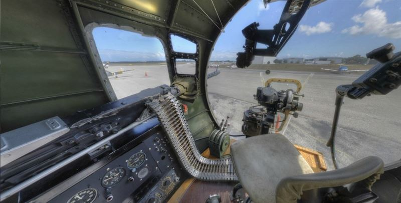 Into the seat of a B-17's Bombardier. (Credits: VintageTin)