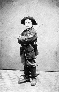 Drummer boy Clem during the American Civil War.
