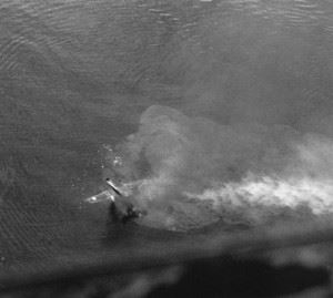 B-25 #41-30118, Miss America, sinks off the coast of Madang after being hit by antiaircraft fire on August 5, 1943. The crew was taken captive by the Japanese. (Credits: International Historical Research Associates)