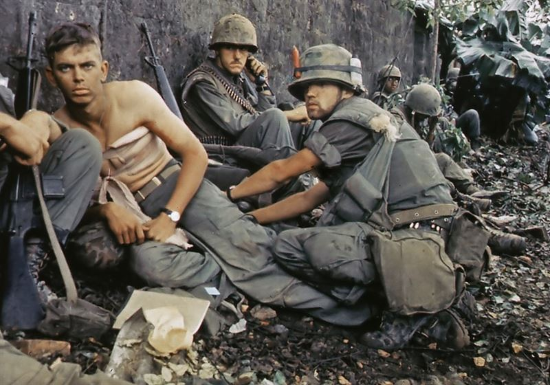 "Twentieth Century ""Angel of Mercy"" -- D. R. Howe (Glencoe, MN) treats the wounds of Private First Class D. A. Crum (New Brighton, PA), ""H"" Company, 2nd Battalion, Fifth Marine Regiment, during Operation Hue City."