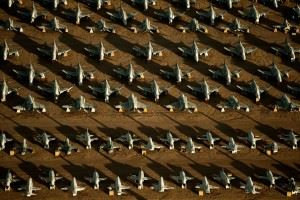 """Rows of F-4 Phantoms and T-38 Talons line the grounds of the 309th Aerospace Maintenance and Regeneration Group, also known as the """"Boneyard,"""" at Davis-Monthan Air Force Base, Ariz. (Credits: U.S. Air Force photo/Tech. Sgt. Bennie J. Davis III)"""