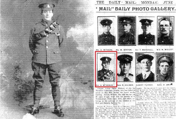 Albert William Venus died at Bellewaarde Ridge (via the Hull Daily Mail)