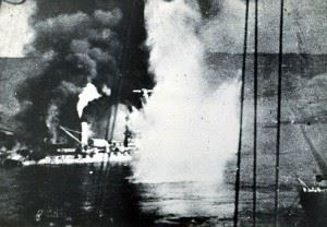 Battleship Bretagne exploding