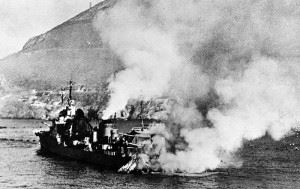 Destroyer Mogador running aground after having been hit by a 15-in round