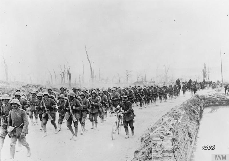 The Operation Michael. German reserves marching forward along the Albert road, March 1918.