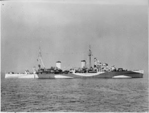 Battle of Duisburg Convoy - Photograph of British light cruiser HMS Penelope at Spithead.