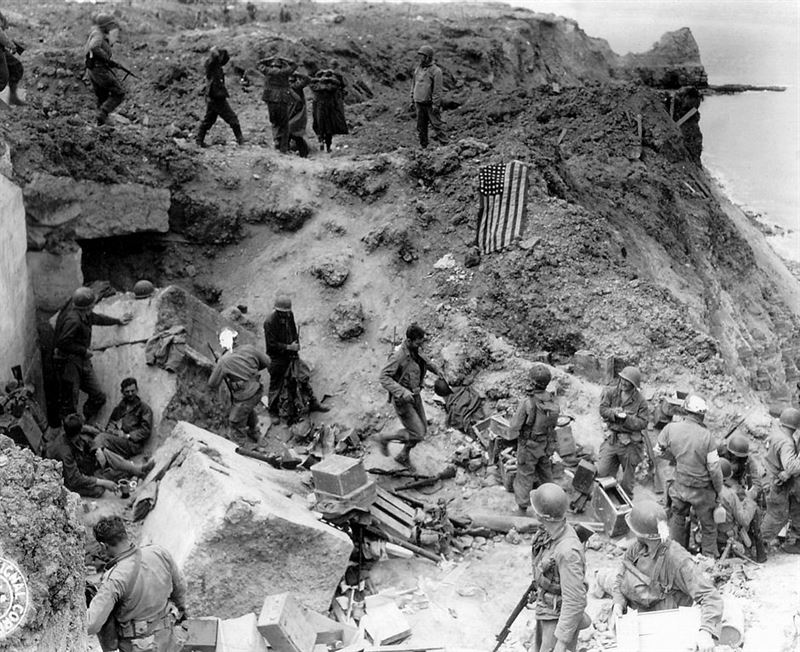 D+2, after relief forces reached the Rangers. The American flag had been spread out to stop fire of friendly tanks coming from inland.