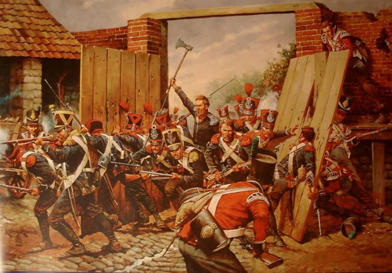 Sous Lieutenant Legros wielding his axe through the North Gate, Hougoumont.
