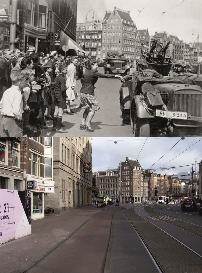 Arrival of the German Wehrmacht in the streets of Dam - Rokin, Amsterdam.