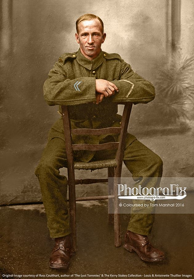 An unconventional pose, highlighting the more casual approach to many of these photos. This man has Two Years Overseas Service chevrons on right sleeve and a Good Conduct (Three Years) chevron on his left sleeve.