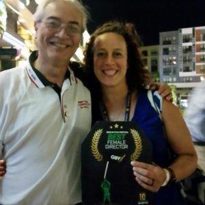 Jim Belcher Jr. with Sara Vladic at GI Film Festival.