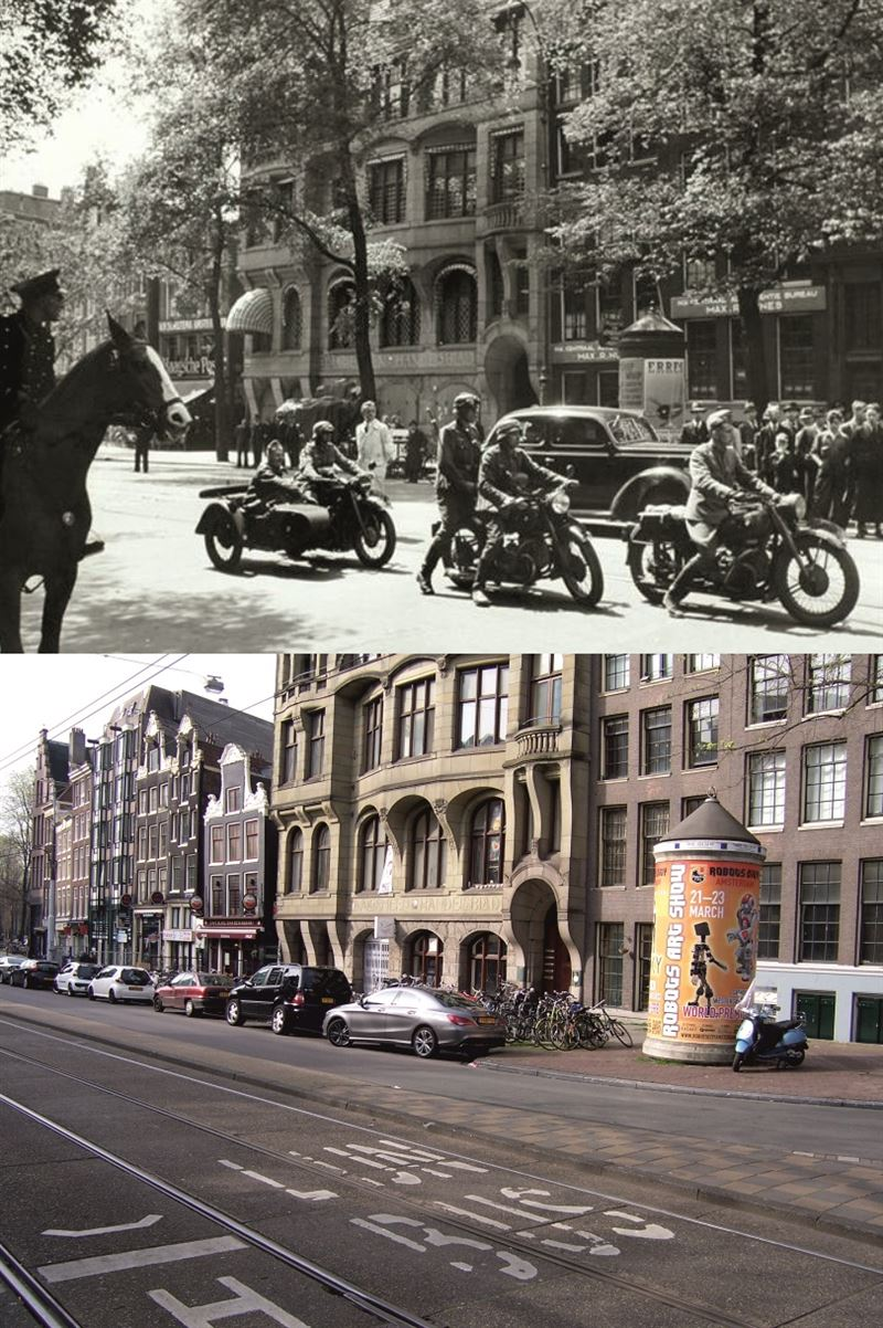 Arrival of the German Wehrmacht at the Nieuwezijds Voorburgwal past the Post Office.
