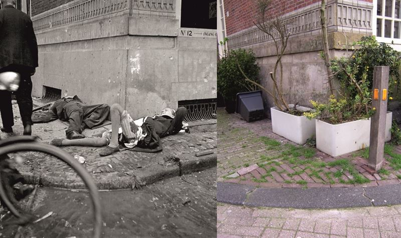 Corner of Langestraat, Blauwburgwal. On May 11, 1940 44 people were killed after a German bombardment.