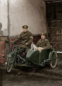 A Staff Sergeant of the Royal Regiment of Artillery with his friends on a Douglas 1916 4hp motorbike