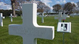 Harlan Herrschers next to his grave