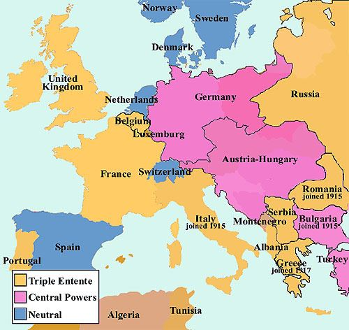 Map of Europe, 1914.
