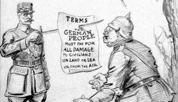 Cartoon summarizing the War Guilt Clause.
