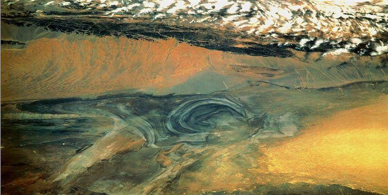 A satellite image of Lop Nur.