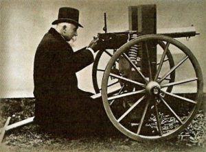 Hiram Maxim poses with one of his revolutionary auto-loading machine guns