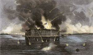 """""""The bombardment of Fort Sumter,"""" engraving by unknown artist, 1863"""