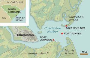 Fort Sumter, Charleston South Carolina map