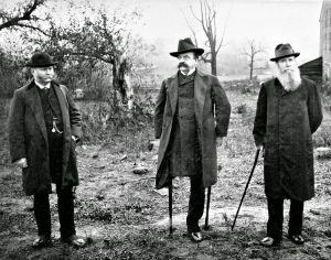Generals Carr, Sickles, and Graham stand by the Trostle Barn where Sickles was wounded July 2