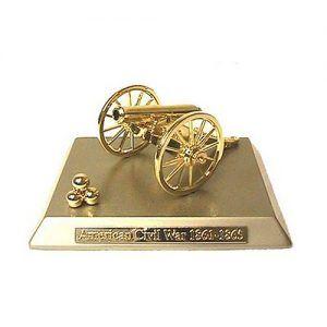 Miniature Civil War Cannon on Gold Base