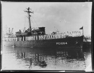 Crew of the USS PC-1264, manning the rails in Dress Whites circa 1944 - arthur kill ship graveyard