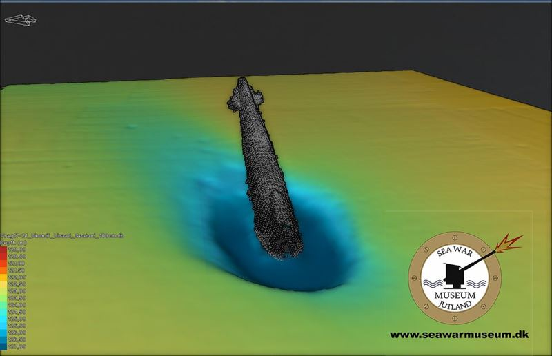 Scans of the U-3523 wreck on the bottom of the sea (Credits: Sea War Museum Jutland)