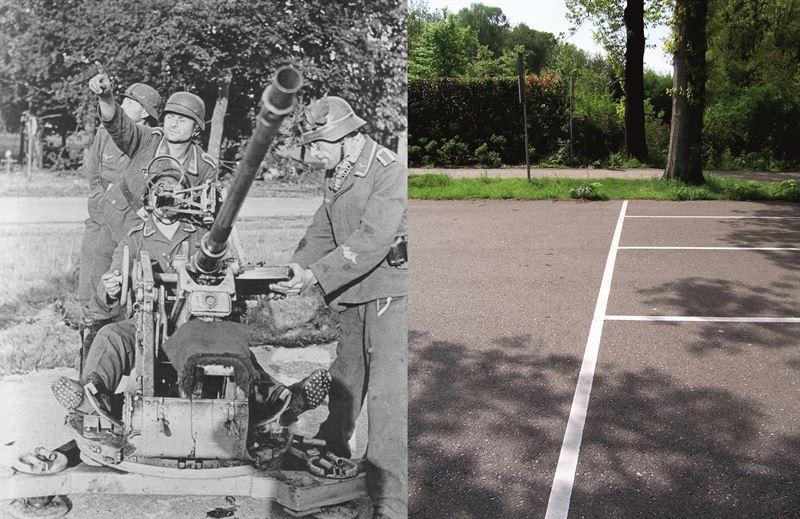 THEN & NOW: Battle of Arnhem. Flak crew of 2 cm Flak 30 at Oosterbeek during Operation Market Garden.