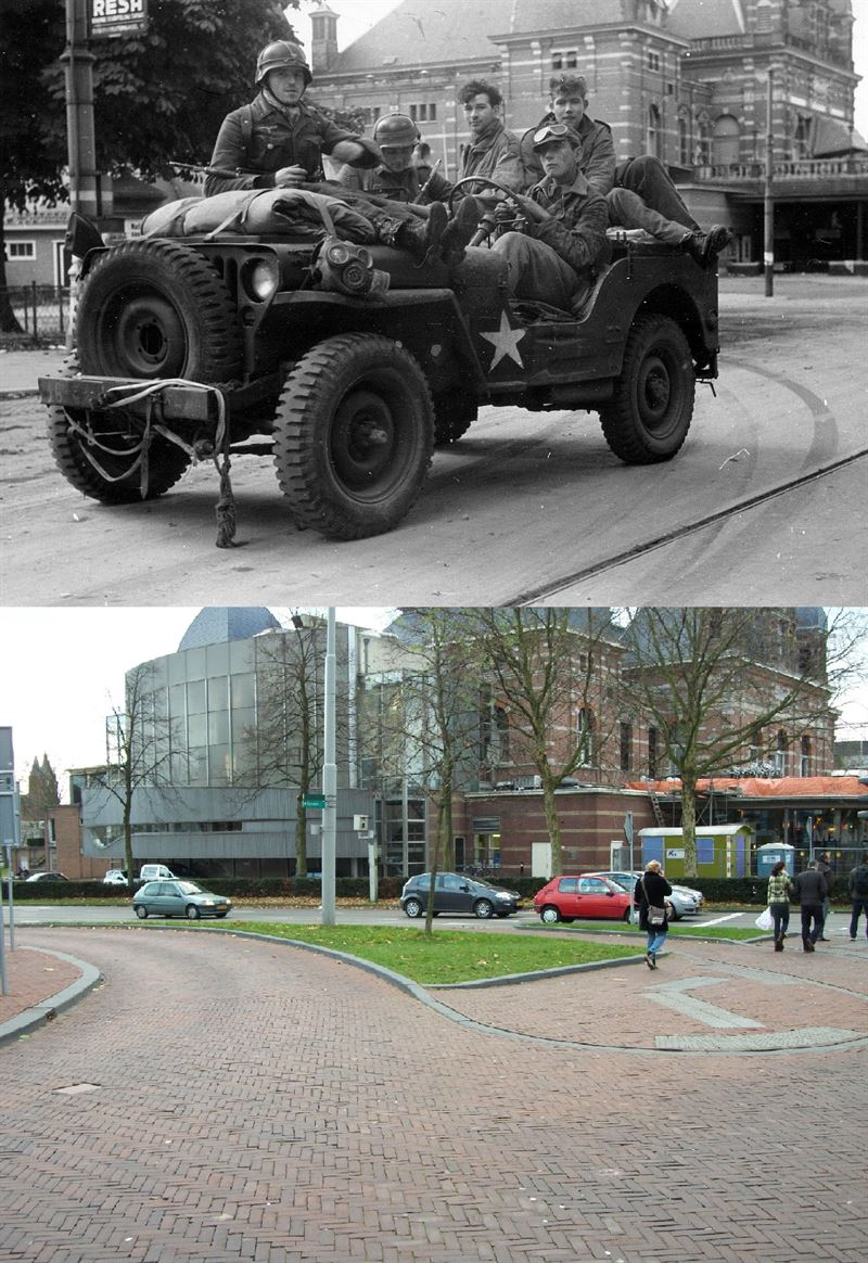 THEN & NOW: Battle of Arnhem: US Jeep near Musis, Arnhem.