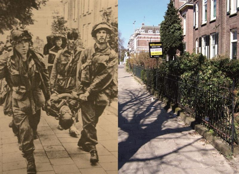 THEN & NOW: Battle of Arnhem. British troops at the Van Olderbarneveldstraat