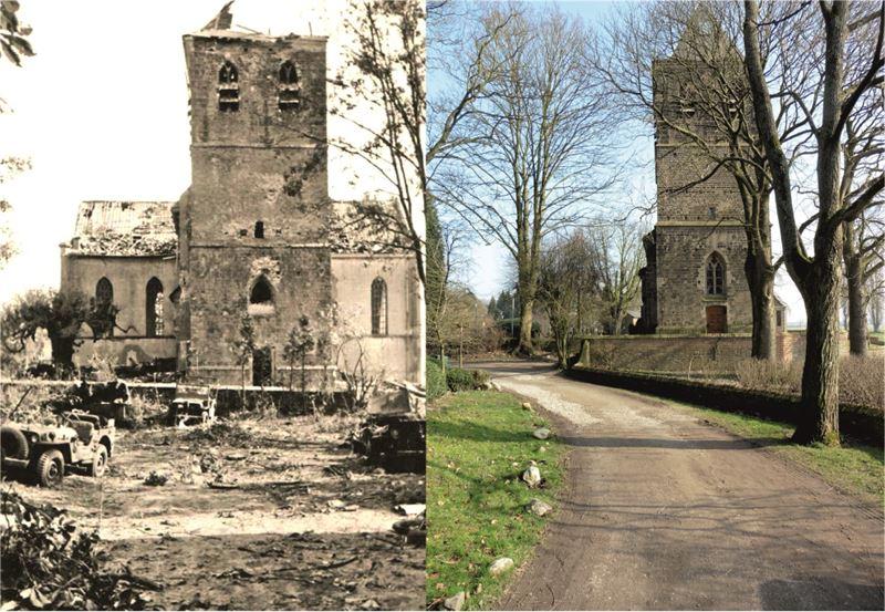 THEN & NOW: Battle of Arnhem. The battle-damaged Church of Oosterbeek.