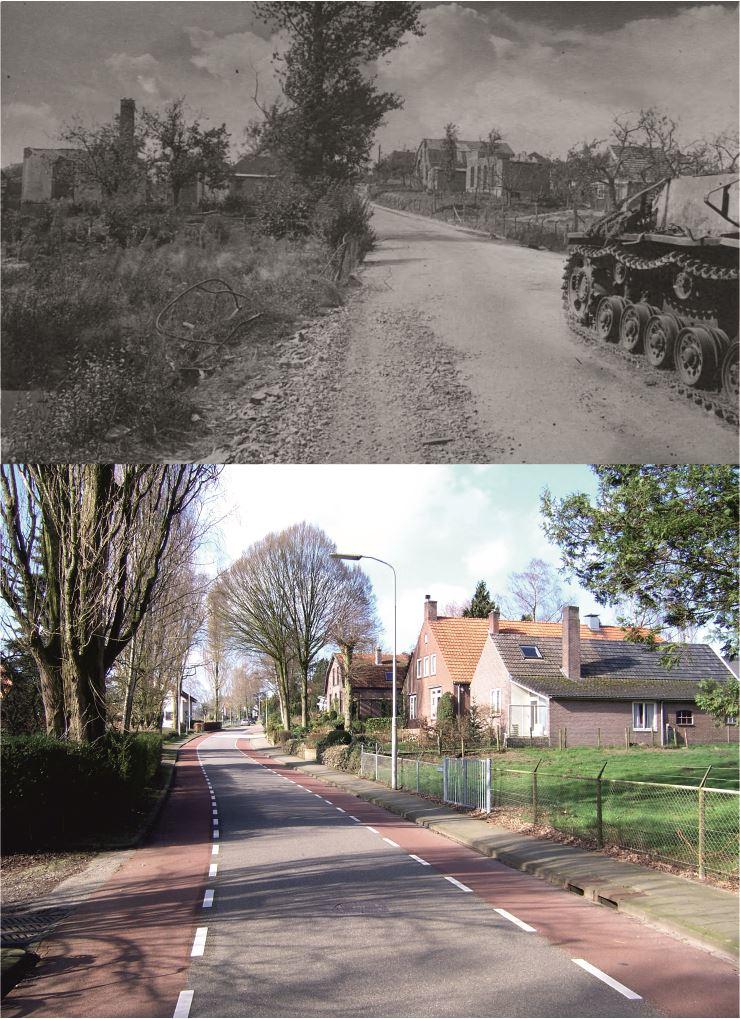 THEN & NOW: Battle of Arnhem. Sturmgeschütz III on the Benedendorpseweg in Oosterbeek.