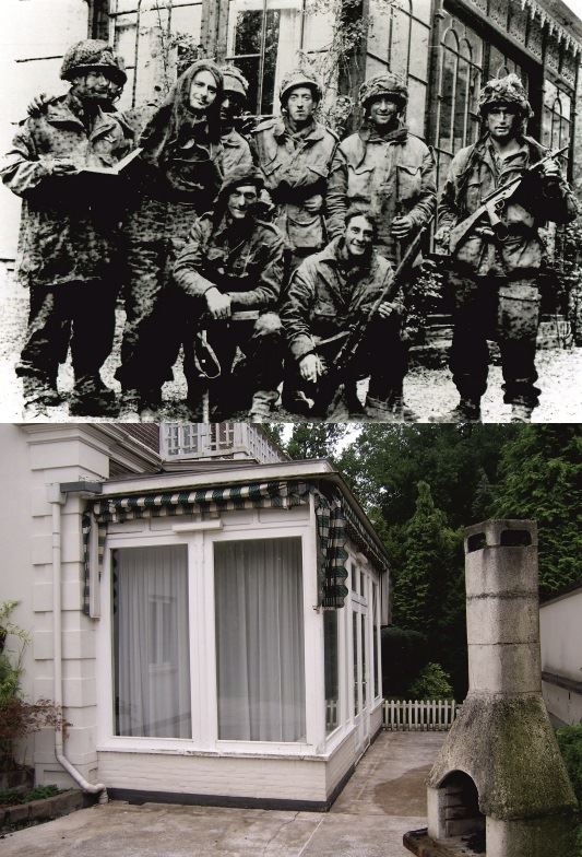 THEN & NOW: Battle of Arnhem. Photograph of the 21st Independent Para Coy taken by Mrs. Kremer in the back garden of Station Weg No. 8