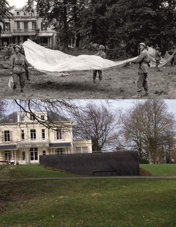 THEN & NOW: Battle of Arnhem. Troops folding a parachute at Utrechtseweg No. 2 Hotel Hartenstein (now a museum), Oosterbeek, 1944.
