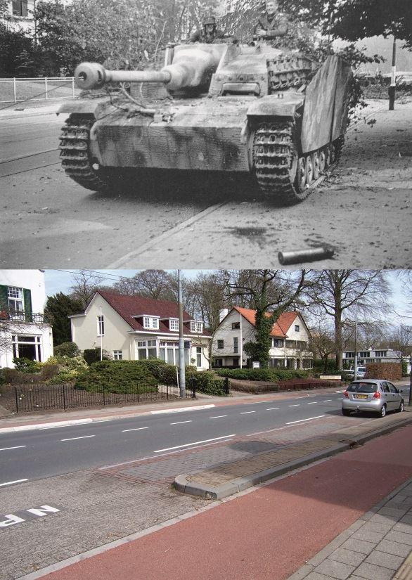 THEN & NOW: Battle of Arnhem. A Sturmgeschütz on the Utrechtseweg in Oosterbeek, 1944.