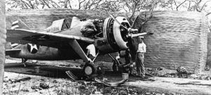 Brewster Buffalo F2A-3, BuNo 01524, MF-9 in revetment at MCAS Ewa, circa 1942