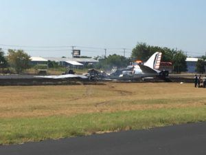 Aftermath of the C-47 crash in Burnet, Texas. (Credits: Burnet County Sheriff's Office)